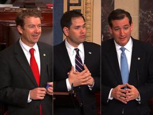 Left to right: Rand Paul (R) Texas, Marco Rubio (R) Florida, Ted Cruz (R) Texas