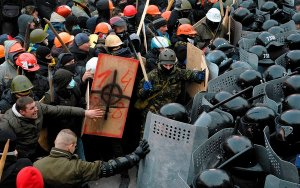 Protesters and police clash in Ukraine